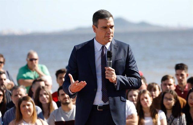 El president del Govern i líder del PSOE, Pedro Sánchez intervé en un míting a los Alcázares, Múrcia, (Espanya), a 7 de novembre del 2019.