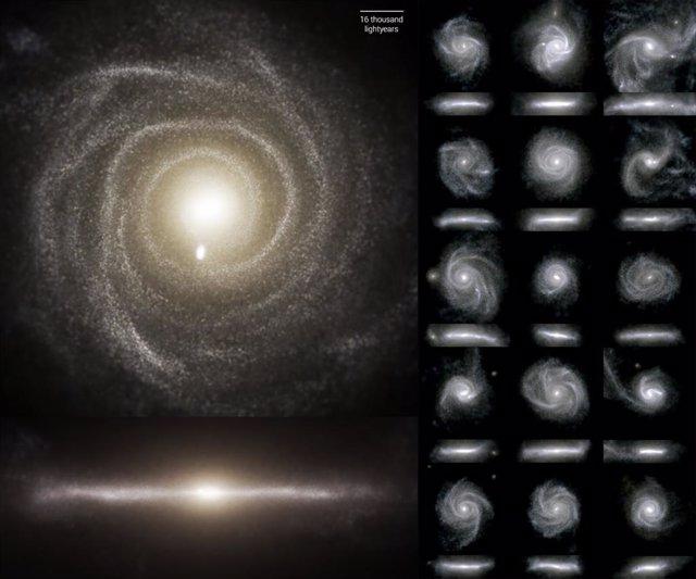 Luz óptica emitida por 16 galaxias en la simulación TNG50