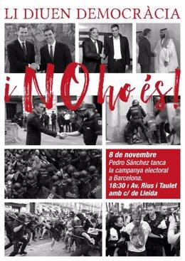 Convocatòria de la protesta contra el míting final de campanya de Pedro Sánchez a Barcelona.