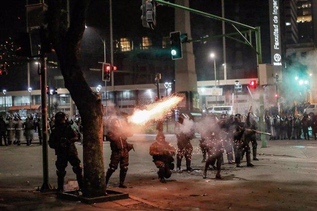Disturbios en La Paz en el marco de las protestas a favor y en contra de la reelección de Evo Morales como presidente de Bolivia