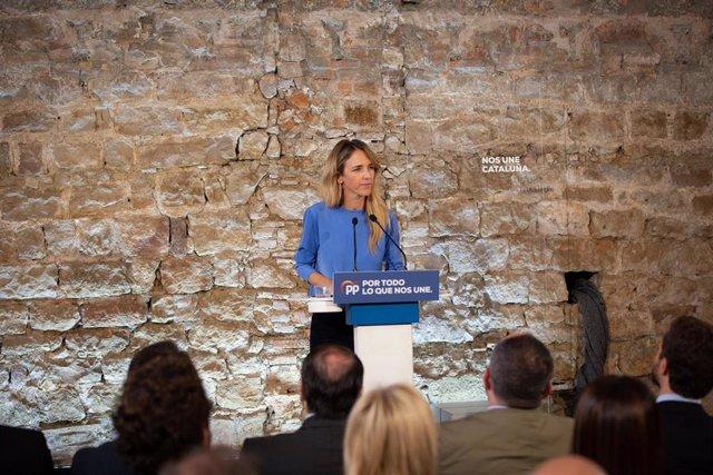 La portaveu del Grup Popular al Congrés, Cayetana Álvarez de Toledo durant la seva intervenció en l'acte de campanya del Partit Popular en el Museu d'Història de Barcelona (Espanya), a 6 de novembre de 2019.