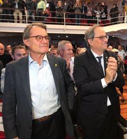 L'expresident Artur Mas i el president de la Generalitat, Quim Torra