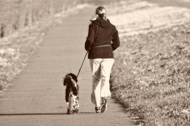 Una mujer hace ejercicio y pasea a su perro, running.