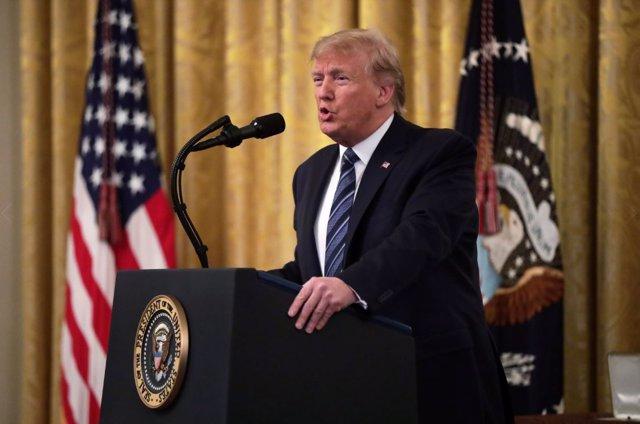 Donald Trump, presidente de Estados Unidos , durante una acto en La Casa Blanca