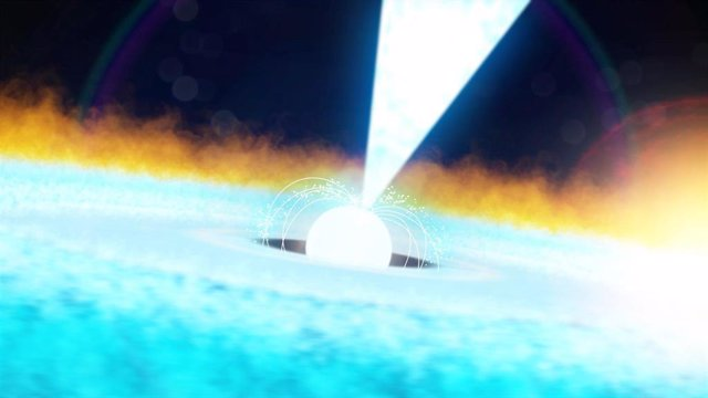 Recreación de emisión desde un púlsar