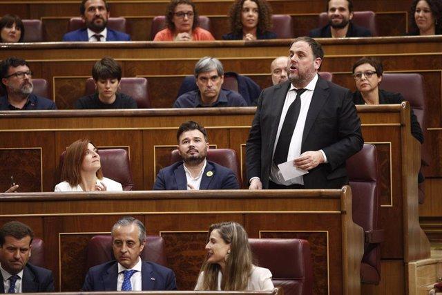 El líder de ERC, Oriol Junqueras, durante la constitución del Congreso