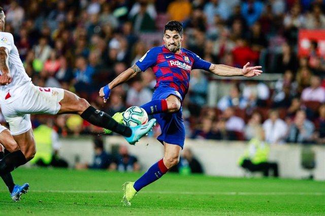 Luis Suárez, en un partido con el FC Barcelona.