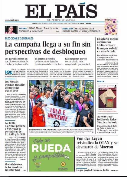Las portadas de los periódicos del 9 de noviembre de 2019