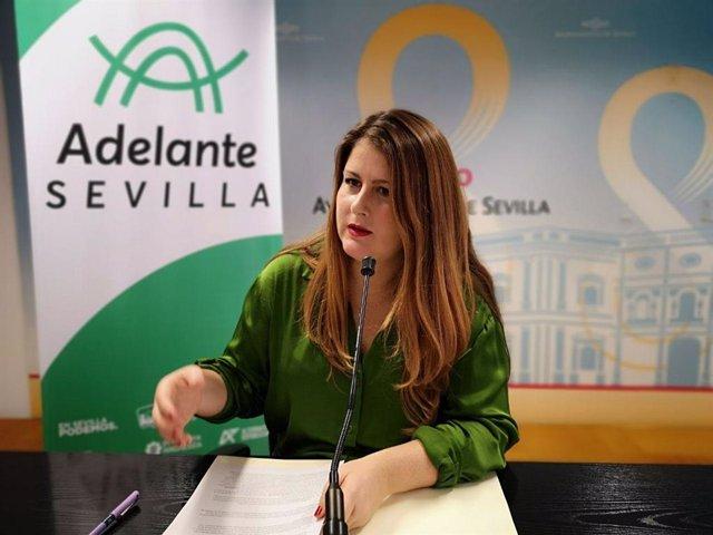 La portavoz municipal de Adelante Sevilla, Susana Serrano, en una imagen de archivo de una rueda de prensa