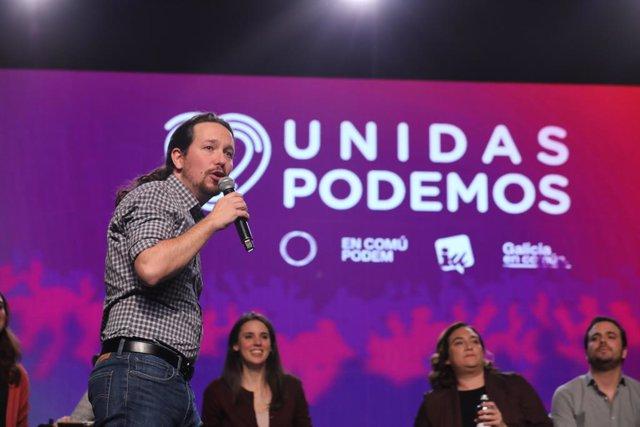 El candidat a la Presidència del Govern per Unides Podem, Pablo Iglesias durant un míting de finalització de campanya del partit a la Fira de Madrid (IFEMA), a Madrid, el 8 de novembre de 2019.