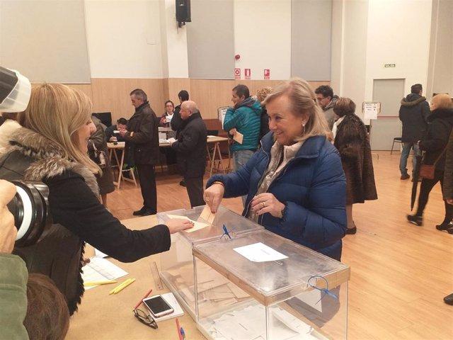 La candidata de PP-Foro al Senado por Asturias, Mercedes Fernández, ejerce su derecho al voto en las elecciones generales