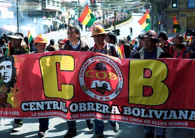Protesta del sindicato Central Obrera Boliviana en La Paz