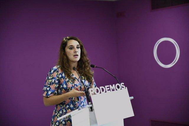 La portaveu de Podem al Congrés dels Diputats, Noelia Vera, durant una roda de premsa oferta després del Consell de Coordinació del partit a Madrid, a 16 de setembre del 2019.