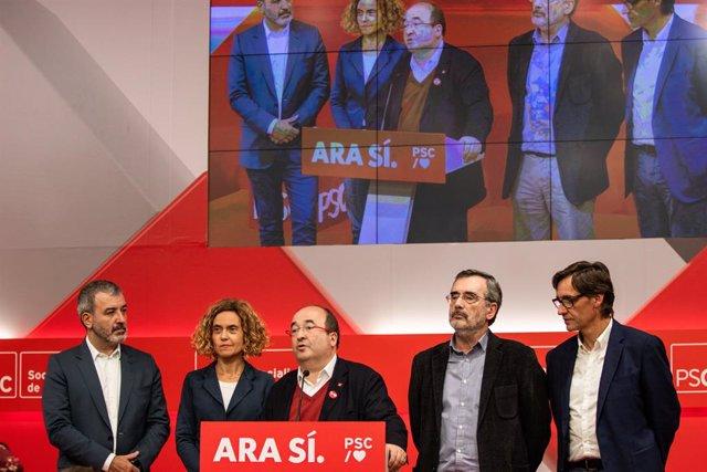 Jaume Collboni, Meritxell Batet, Miquel Iceta, Manuel Cruz i Oriol Illa en la nit electoral del PSC de les eleccions generals del 10 de novembre del 2019