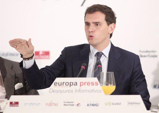 El president de Cs, Albert Rivera, participa en un Esmorzar Informatiu d'Europa Press, Madrid (Espanya), 7 de novembre del 2019.