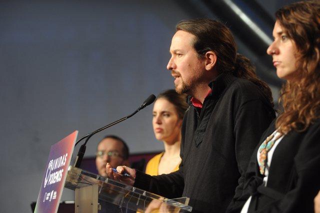 El candidato a la Presidencia del Gobierno por Unidas Podemos, Pablo Iglesias durante su intervención en la noche electoral del 10N, en el Espacio Harley de Madrid (España), donde Unidas Podemos sigue los resultados del escrutinio, a 10 de noviembre de 2019.