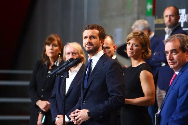 Pablo Casado fa declaracions després del debat electoral pel 10N.