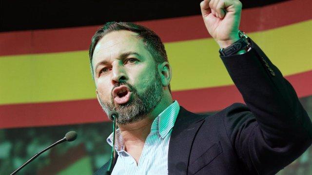 El president de Vox i candidat presidencial, Santiago Abascal intervé en l'acte central del partit a València (Espanya), 7 de novembre del 2019