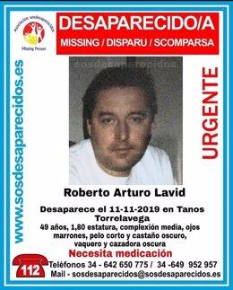 Cartel de SOS Desaparecidos sobre desaparecido