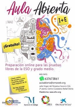 Cartel de Aula Abierta programa de la Noria de Diputación y ACP para jóvenes que no han terminado la ESO
