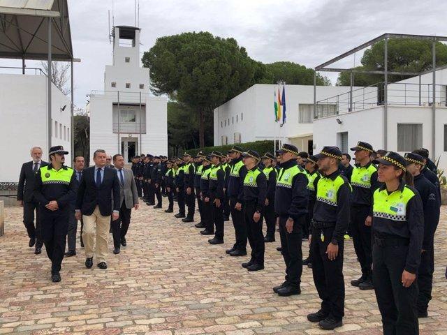 El viceconsejero de la Presidencia, Antonio Sanz, este lunes en la inauguración del curso de Inspectores y Subinspecctores de la Polícia Local en la sede de la Escuela de Seguridad Pública de Andalucía (ESPA).