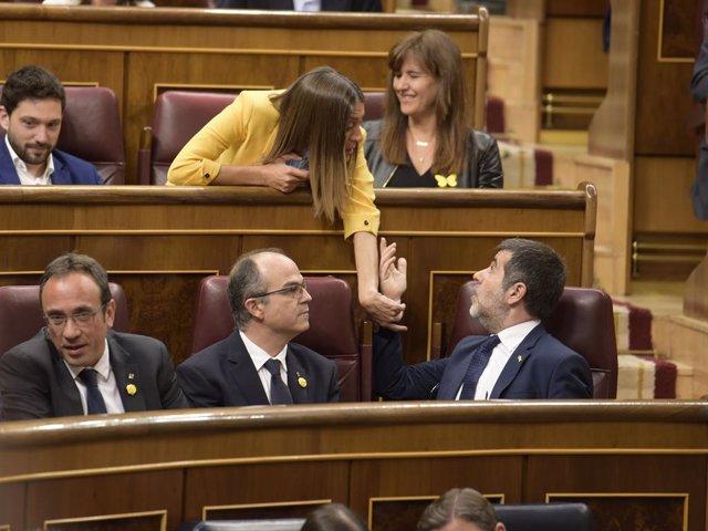 Josep Rull, Jordi Turull, Jordi Sànchez en una imatge d'arxiu.