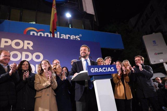 El presidente del PP y candidato del partido a la Presidencia del Gobierno, Pablo Casado durante su intervención en la noche electoral del 10N en la sede del PP en Madrid (España), donde el partido sigue los resultados del escrutinio, a 10 de noviembre de