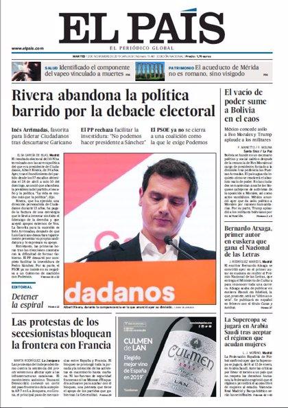 Las portadas de los periódicos del martes 12 de noviembre de 2019
