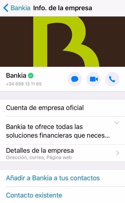 Bankia, primer banco español con una cuenta de Whatsapp oficial verificada