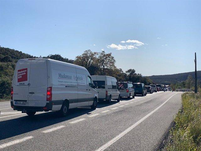 Retencions a la carretera N-II a la Jonquera (Girona) després del tall de Tsunami Democràtic