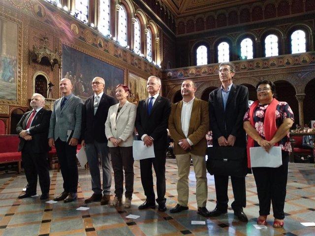 Los rectores de las universidades públicas catalanas en un acto el pasado mes de octubre.
