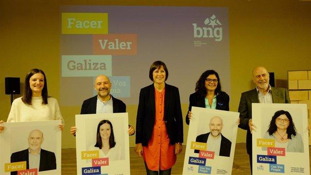 Los candidatos del BNG al Congreso junto a la portavoz nacional, Ana Pontón, en la presentación