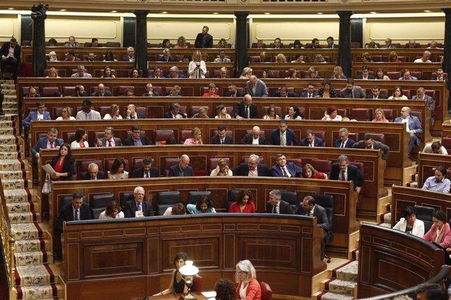 Vista del hemiciclo del Congreso de los Diputados durante una sesión del debate de investidura a la Presidencia del Gobierno.