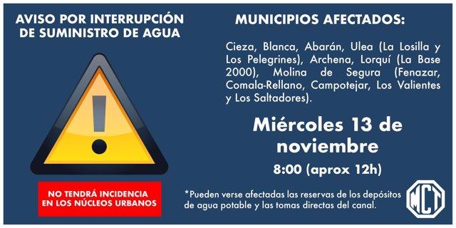 MCT aclara que el corte en el suministro de agua en 7 municipios no tendrá incidencia en los núcleos urbanos