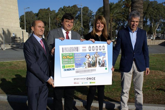Presentan el cupón de la ONCE dedicado al Monumento a Colón.