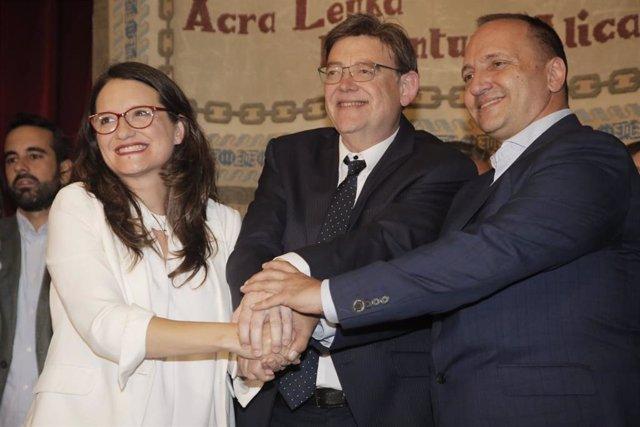 Mónica Oltra, Ximo Puig i Rubén Martínez Dalmau firmen el Pacte del Botànic II