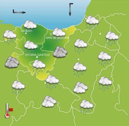 Tiempo lluvioso y temperaturas máximas de 14 grados este miércoles en Euskadi
