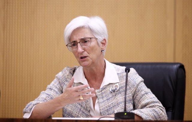 La Fiscal General del Estado, María José Segarra, comparece ante los medios con el fin de exponer una valoración preliminar en relación a la sentencia del Tribunal Supremo sobre el proceso independentista catalán del 1-O.