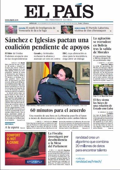 Las portadas de los periódicos del miércoles 13 de noviembre de 2019