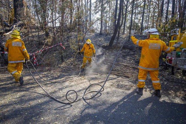 Bomberos de la Brigada de Queensland trabajan para extinguir el fuego que ha alcanzado algunas casas.