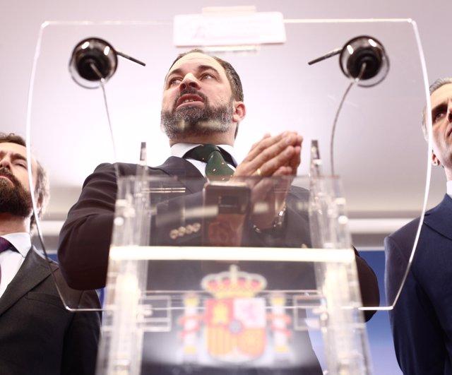 El presidente de VOX, Santiago  Abascal, durante su intervención en la rueda de prensa del partido, en el Congreso de los Diputados, en Madrid (España), a 13 de noviembre de 2019.