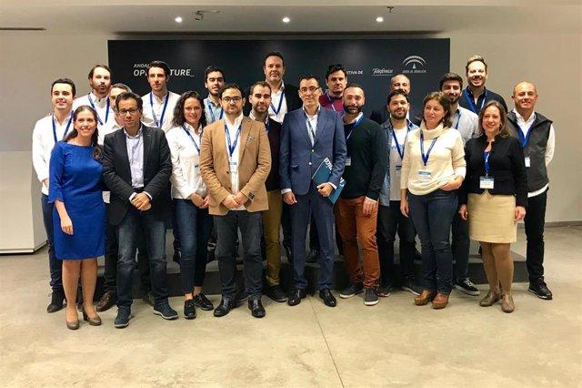 Imagen del acto organizado por la Consejería de Economía y Telefónica de presentación de startups andaluzas a inversores nacionales e internacionales.