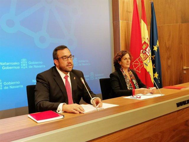 Javier Remírez e Itziar Gómez, en la rueda de prensa posterior a la sesión de Gobierno