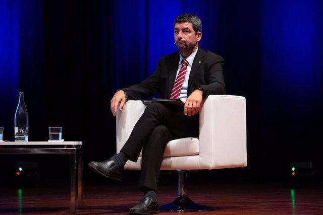 El president de la Cambra de comerç de Barcelona, Joan Canadell en el primer fòrum 'Automobile Talks', un nou fòrum d'automoció organitzat per la patronal catalana FECAVEM a Barcelona (Catalunya, Espanya), 9 d'octubre del 2019.