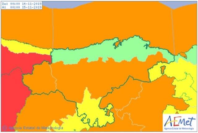 Mapa de avisos activos en Cantabria este jueves y viernes