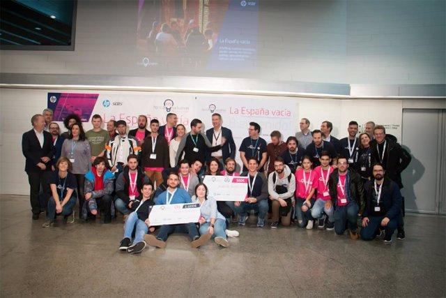 Participants del 'hackaton' organitzat per HP a Lleó amb motiu de la Semana de la Espanya Vacía.