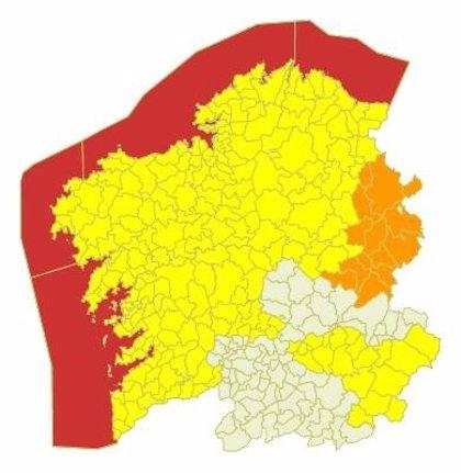 Alerta roja por temporal costero en el litoral de las provincias de A Coruña y Pontevedra
