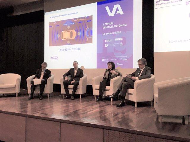 Francesc Garriga, Dani Marco, Neus Cònsol i Josep Canós, en una taula rodona aquest dimecres.