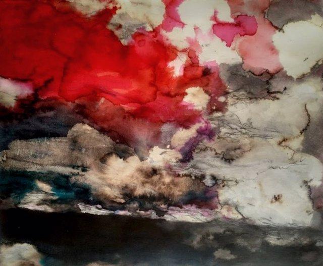 Una de las obras de Fernando González en la exposición 'Tierra mordida' que se exhibe en Huesca