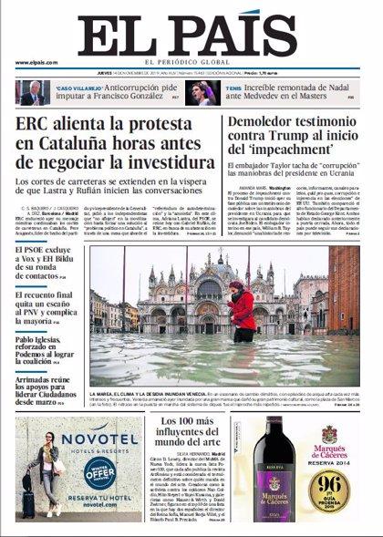 Las portadas de los periódicos del jueves 14 de noviembre de 2019